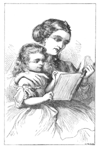 Kid and mother reading